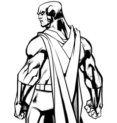 superhero back battle mode line art vector image