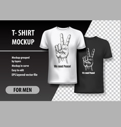 t-shirt template fully editable peace gesture vector image