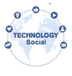 technology social icon circle frame world map back vector image