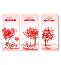 Three valentines day banners with pink trees and vector image