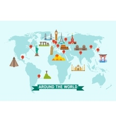 Travel landmarks on world map vector
