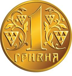 Ukrainian money gold coin one hryvnia vector image