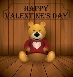 Valentine day Teddy bear brown stuffed toy print vector