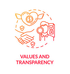 Values and transparency red gradient concept icon vector