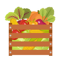 vegetables in a wooden box icon vector image vector image