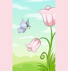vertical cartoon nature background for mobile vector image