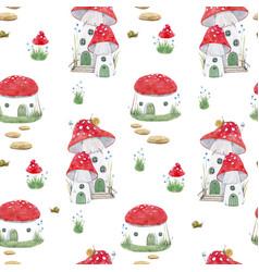 Watercolor mushroom house pattern vector
