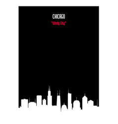 White silhouette chicago urban skyline vector