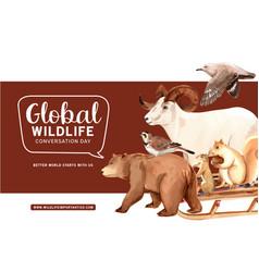 Winter animal frame design with bear mountain vector