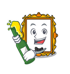 with beer picture frame mascot cartoon vector image