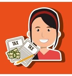 Woman taxes bills pencil vector