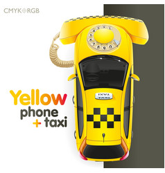 Yellow taxi-phone vector