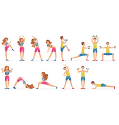 Young man and woman different gymnastic poses vector