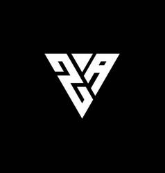 za logo letter monogram with triangle shape vector image