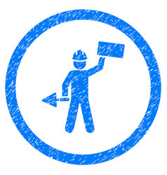 Builder with shovel rounded grainy icon vector