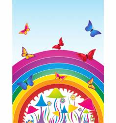 butterflies and rainbow vector image vector image