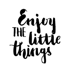 Enjoy the little things brush lettering vector image