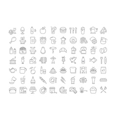 Set Flat Line Icons Drinks and Food vector image vector image