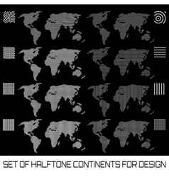 Set of halftone continents for design vector image vector image