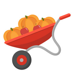 wheelbarrow with pumpkins icon flat style vector image vector image