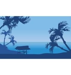 Hut in seaside scenery silhouette vector