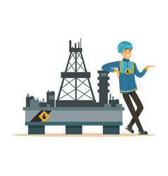 Oilman standing next to an oil rig drilling vector
