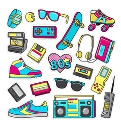 Patch Icons of 80 s On White Limited Background vector image vector image