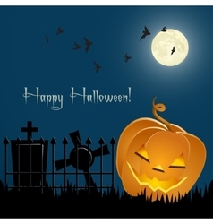 Pumpkin bats and tombs in front of the night sky vector image vector image