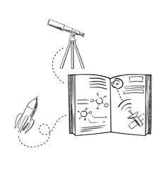 Rocket telescope and astronomy book sketches vector image vector image
