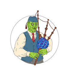 zombie piper playing bagpipes grime art vector image vector image