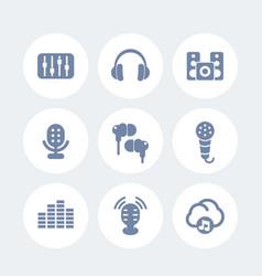 audio icons set earbuds microphones speakers vector image