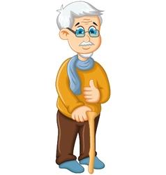 cute old man cartoon thumb up vector image