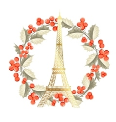 Eiffel tower christmas card vector image