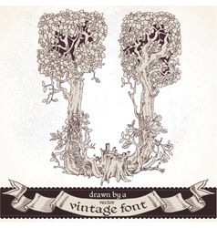 Fable forest hand drawn by a vintage font - U vector image