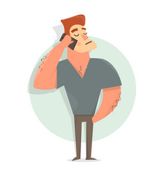 funny and comic guy talking on the phone vector image