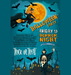 halloween friday horror party poster vector image vector image