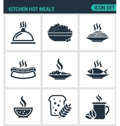 Set of modern icons Kitchen hot meals dish vector image vector image