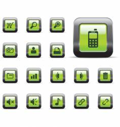 web icons glossy green vector image vector image