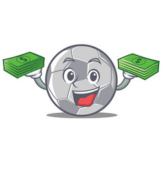 with money football character cartoon style vector image vector image