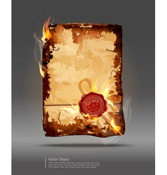 burning parchment vector image vector image