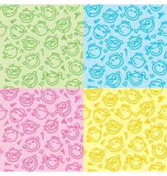 funny faces patterns vector image vector image