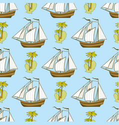 seamless pattern with ship palms and island vector image vector image