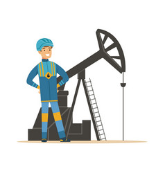 Smiling oilman standing next to an oil rig vector