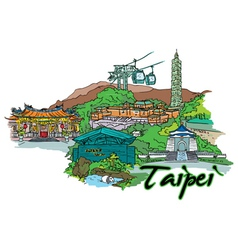 taipei doodles vector image vector image