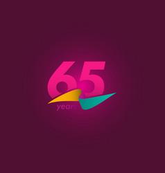 65 years anniversary celebration purple ribbon vector