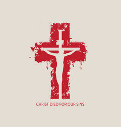Abstract red cross with crucifixion vector