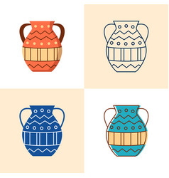 ancient vase icon set in flat and line style vector image