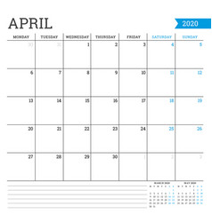 april 2020 square monthly calendar planner vector image