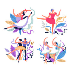 ballerinas and ballet dancing stage performance vector image