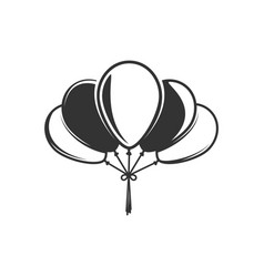 balloons silhouette isolated on white background vector image